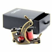 Upgrade Professional Cnc Carved Brass Tattoo Machine 12 Wrap Coils Shader