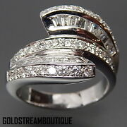 18k White Gold 2.38 Tcw Diamonds Bypass Solar Abstract Wedding Ring Size 7.25