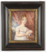 Portrait Of A Lady In White Gown Fine English Miniature Ca. 1810