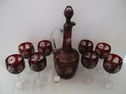 Stunning Ruby Red Cut To Clear Decanter 13 1/4h+ 8 Ctc 6 Wine Stemsxlnt Cond