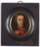 Portrait Of A Young Gentleman High Quality Dutch Oil On Copper Miniature 17c