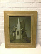 Vintage George Snow Hill Signed Mixed Media Painting On Board Chapel By The Sea