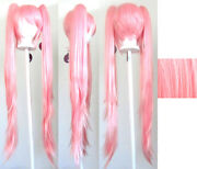 40and039and039 Wavy Pig Tails + Base Cotton Candy Pink Aria Cosplay Wig New