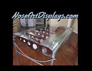 Aircraft Inspired Glass And Aluminum Wing Table For Office Or Dining Restaurant