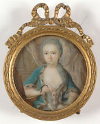 French Monogrammist F. Active 1760/70s Portrait Of A Young Princess Miniat.