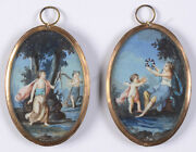 Jacques Charlier-manner Two Miniatures With Allegorical Scenes 18th Century
