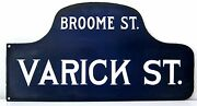 Vintage Nyc Street Sign. Broome Street And Varick. Early 20th Century