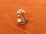 Vintage Sterling Silver Anchor Form Menand039s Tie Tack W/ 2 Small Inset Stones