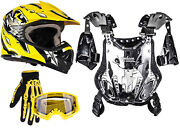 Youth Kids Peewee Chest Protector 50-75 Lbs Helmet Yellow Atv Gloves Goggles Dot