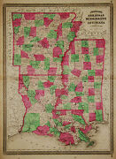 1870 Genuine Antique Hand Colored Map Arkansas Louisiana And Mississippi. Johnson