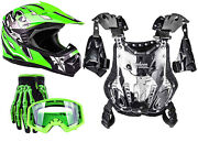 Youth Chest Protector 75-100 Lbs Helmet Green Gloves Goggles Combo Atv Kids Dot