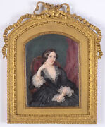 Mlle Sidonie Berthon 1817-1871 Lady In Arm Chair Large Miniature 1852