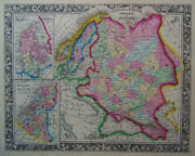 1860 Genuine Antique Map Of Russia In Europe And Scandanavia. A Mitchell