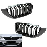 M4 Style Piano Gloss Black Front Grilles Grille For 14-20 F32 F33 F36 435i 440i
