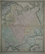 1856 Genuine Antique Large Hand Colored Map Russia In Europe. G. Philip And Son