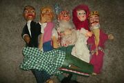 Rare Antique 19th Century Wood Glove Theater Puppets - Guignol Or Punch And Judy