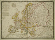 1826 Genuine Antique Large Hand Colored Map Of Europe In 1789. By A.h. Brue