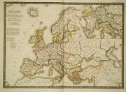 1826 Genuine Antique Map Of Europe At The Time Of Charlemagne. By A.h. Brue