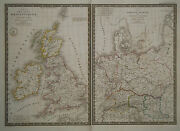 1827 Genuine Antique Maps Of Ancient Britain And Ancient Germany. By A.h. Brue