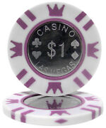 50 White 1 Coin Inlay 15g Clay Poker Chips - Buy 2, Get 1 Free