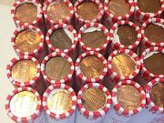 25 Rolls Of Unsearched Pennies, Most Denver Mint. Some Wheat Backs. Copper. +++