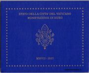 Vatican Official Euro Coin Set Bu 2007 From 1 Cent To 2 Euro