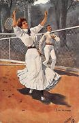 Raphael Tuck Tennis Playing Man And Woman Signed Von Hans Leiter Postcard