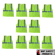 Neon Yellow Safety Vest W/ Reflective Strips Size Xl 10 Pack Traffic Vests