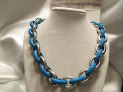Discontinued Cwc Pre-2014 Oval Links Necklace Silvertone And Sky Blue