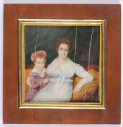 Portrait Of A Lady With Her Little Son High Quality French Miniature 1816