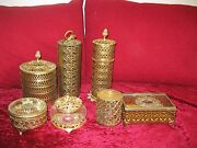7 Bronze Jewelry Boxes Casket French Cut Set Trinket Collection Pill Glass Lot