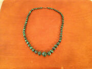 Likely Vintage Graduated Asian Or African Malachite Bead Necklace 59 Beads