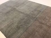 9and039 X 12and039 Brown Fine Quality Modern Striped Oriental Area Rug Hand Knotted Wool`