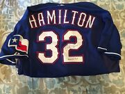 2009 Josh Hamilton Signed Inscribed Game Used Jersey - Awesome Blue - Jsa/mlb