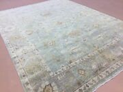 8and039.11 X 11and039.10 Muted Green Beige Oushak All-over Oriental Rug Handknotted Wool