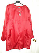Avenue Red Satin Button Front Lined Dressy Coat Jacket Plus Size 26 Nw0t