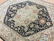 8and039 X 10and039 Navy Blue Brown Very Fine Geometric Oriental Rug Hand Knotted Wool