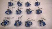 12 Handmade Christmas Ornaments Made With Bling Blue Silver And Royal Blue