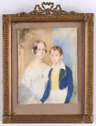 Albert Decker 1817-1871 Portrait Of A Young Sister And Brother Miniature