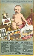 1800and039s Pioneer Canton Oh Steel Roofing Color Catalog Dog Baby Rare Postcard