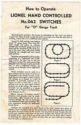 [55481] 1953 Lionel Trains Hand Controlled No. 042 Switches Instructions
