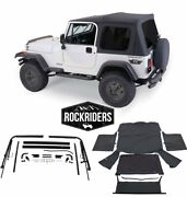 1976-1995 Jeep Wrangler And Cj7 Soft Top Kit For Jeeps W/ Full Doors Black Tinted