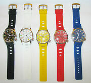 New Geneva Large Silicone International Flags Black,blue,white,yellow,red Watch