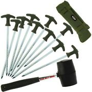Bivvy Peg Set 10 X 8 T Grip Pegs And 8 Oz Mallet Deluxe Case Coarse Carp Fishing
