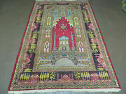 4and039 X 6and039 Antique 1920s Hand Made Turkish Mehrab Design Wool Rug Lantern Beautiful