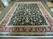 9and039 X 12and039 Vintage Hand Made Fine Chinese Oriental Floral Wool Rug Silk Black