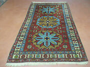 4and039 X 6and039 Vintage Hand Made Caucasian Shirvan Russian Armenian Wool Rug Colorful