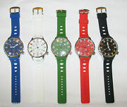 Geneva X-large Silicone Internation Flags Black,blue,white,green,red Watch-new