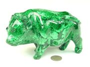 Butw Hand Carved Zaire African 6.8 Malachite Water Buffalo Lapidary 0382p Ab