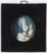 Haslinger Austrian Artist Young Lady With A Garland Miniature 1790s